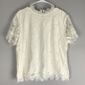 Laundry Shelli Segal all over lace top ivory